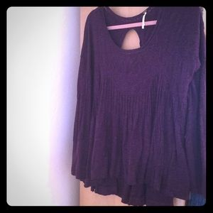 Free People Plum Lace and Cotton Top